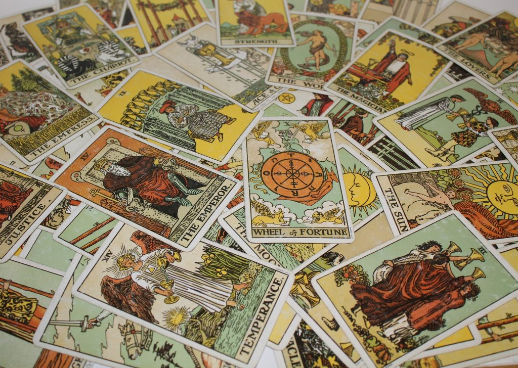 A spread of tarot cards - creative therapy techniques