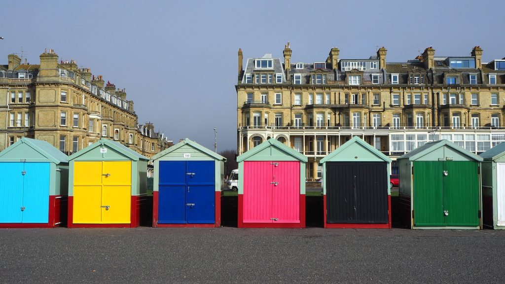 colourful huts at Hove Lawns - I offer Counselling Sessions in central Hove.